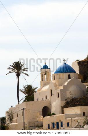 Greek Island Church Blue Dome Ios Cyclades Islands
