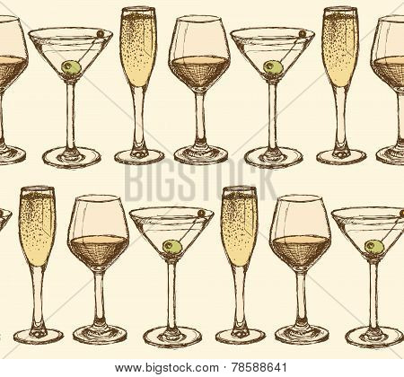Sketch Martini, Champagne And Wine Glass In Vintage Style