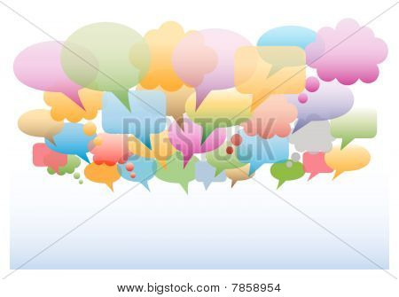 Social media speech bubbles gradient colors background