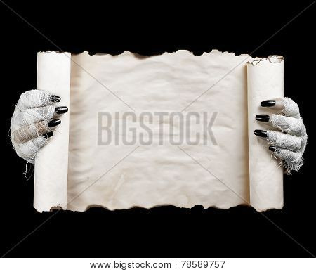 Halloween Mummy Holding Scroll