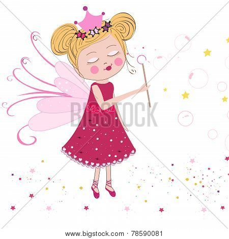 Cute fairytale soap bubbles vector