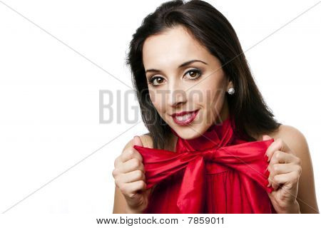Happy Beautiful Woman With Bow-tie