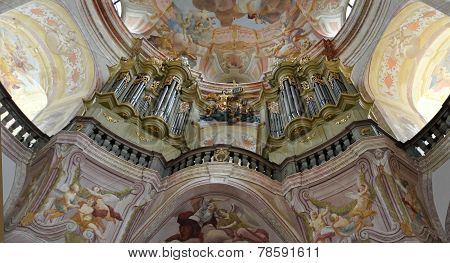 organ in the church, village Krtiny, Czech Republic, Europe