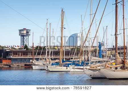 Yachts And Sailing Boats Are Moored In Barcelona, Spain