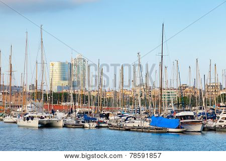 Sailing Yachts And Pleasure Boats Moored In Barcelona