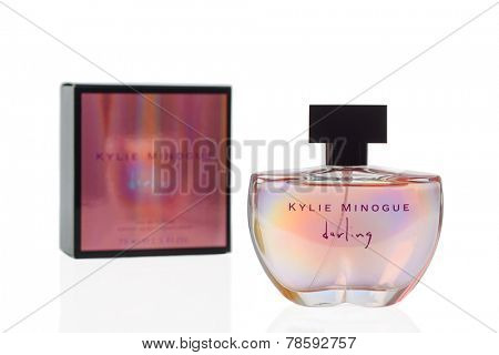 TELFORD, UK - DEC 17, 2014: A bottle and packaging of Kylie Minogue Darling Eau De Toilette perfume. The fragrance is produced by Cote Inc. a global beauty products manufacturer founded in Paris