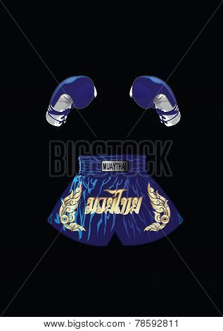 Boxing gloves and thai boxer shorts