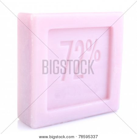 Bar of natural lavender soap isolated on white