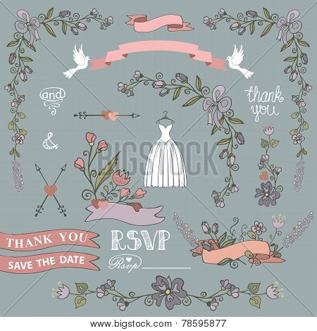 Bridal Shower Template Set.floral Decor Elements