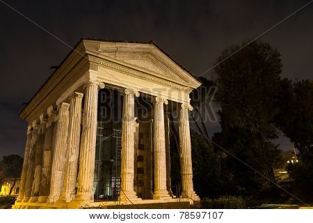 Temple Of Portunus At Night