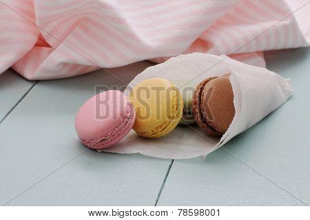 Macarons In Backing Paper Cornet