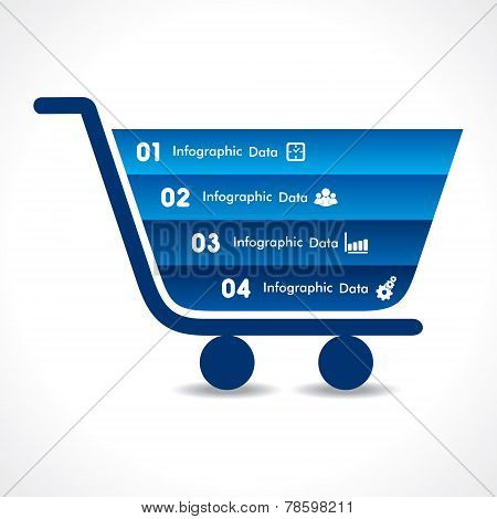 shopping cart info-graphic design stock vector