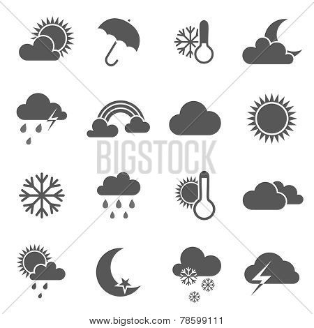 Set of black and white weather icons