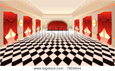 Interior with red curtains and tiled floor