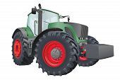 image of tractor  - Agricultural tractor with big wheels vector illustration - JPG
