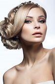 pic of tiara  - Beautiful blond girl in the image of a bride with a tiara in her hair - JPG