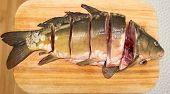 image of fresh water fish  - Fresh water fish cut into the steaks - JPG