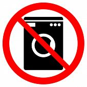 picture of no clothes  - No washing machine icon on white background - JPG
