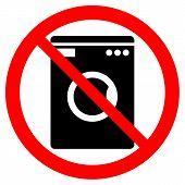 stock photo of no clothes  - No washing machine icon on white background - JPG