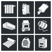 pic of convection  - thermal equipment Vector Isolated Flat Icons collection on a black background - JPG
