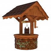 picture of wishing-well  - 3D digital render of an old wishing well isolated on white background - JPG