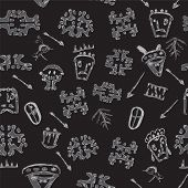 foto of primitive  - Ethnic Primitive Society African Seamless Pattern on Black - JPG