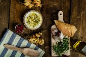 stock photo of dipping  - Baked Camembert with Garlic  - JPG