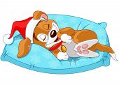 stock photo of christmas puppy  - Cute Christmas puppy sleeping on the pillow  - JPG