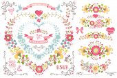 picture of wedding  - Retro wedding design template set with floral decor  - JPG