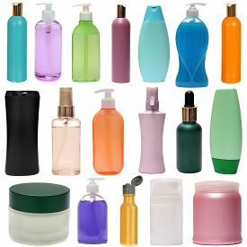 pic of gels  - Set colored plastic bottles with liquid soap and shower gel isolated on white background  - JPG