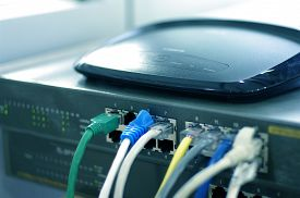 image of intranet  - Router with cable wires. IT industry internet router with cable wires