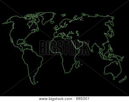 Green Night World Map