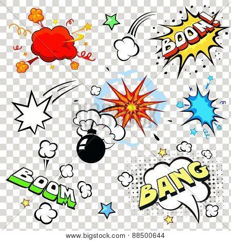 Comic speech bubbles in pop art style with bomb cartoon explosion