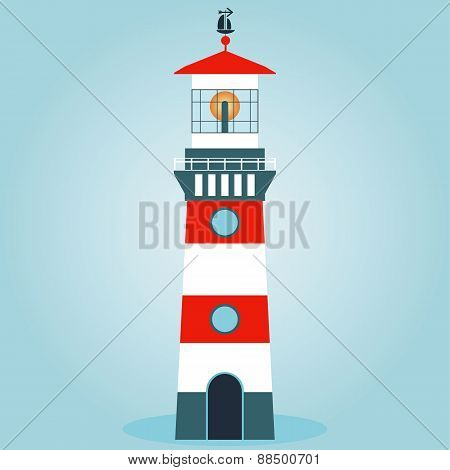Vector Illustration Isolated Striped Red-white Lighthouse. Traced Small Details. Easily Editable.