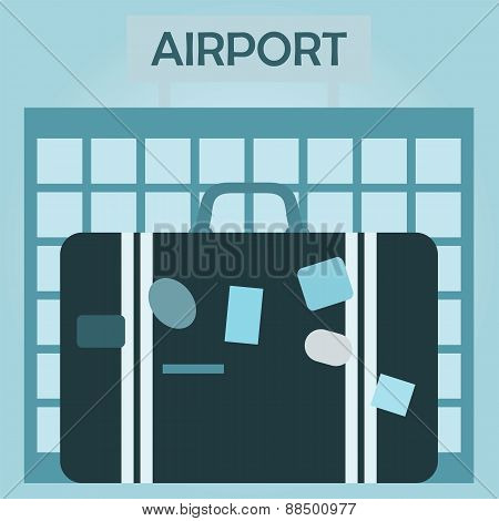 Airport Terminal Design, Airport And Suitcase