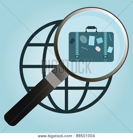 Isolated Icon Symbol Employment Center With Suitcase, Magnifier And Planet