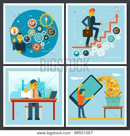Businessman Characters Scenes Symbol icons on Stylish Background Flat Design Vector Illustration