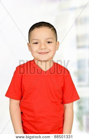 Happy little boy in red t-shirt posing for camera