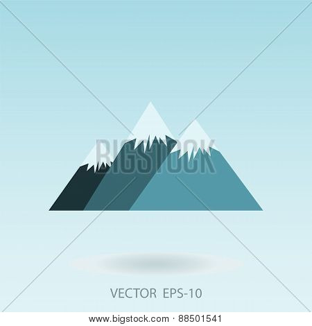 Vector Illustration Of Three Mountains With Snow