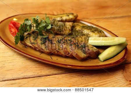 Fried Fillet Of Sea Bass On The Plate