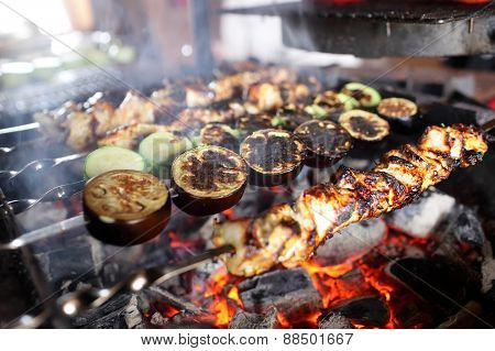 Vegetables And Meat On Skewers