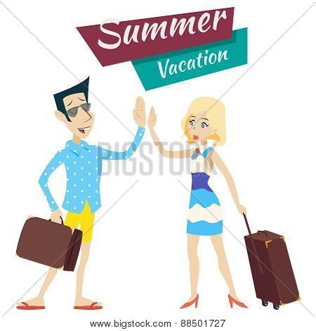Cartoon Retro Vintage Male and Female Characters Planning Summer Vacation Tourism Journey Travel Sym