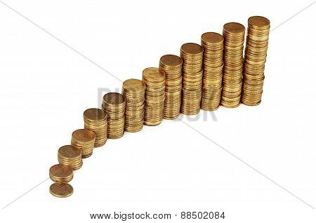 Gold Money Stack Isolated On White