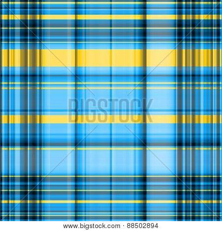 Gingham Blurred Pattern In Black, Blue And Yellowspectrum