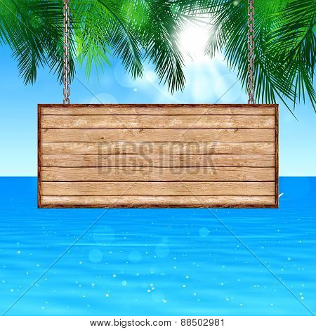Wood Board Notice On Tropical Background