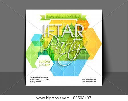 Ramadan Kareem, Iftar party celebration invitation card with creative abstract design and mosque.