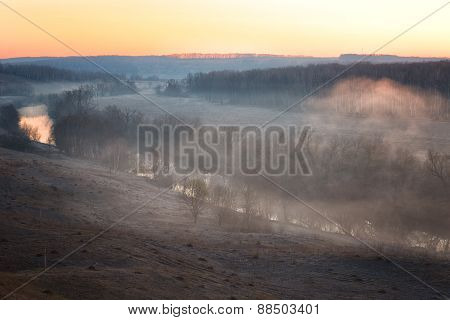 River Mist Lit With A Rising Sun, Early Spring