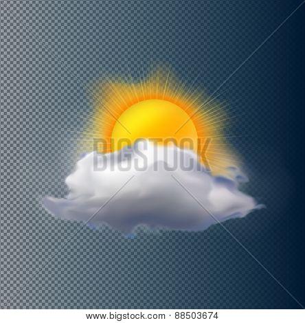 Vector cloud and sun