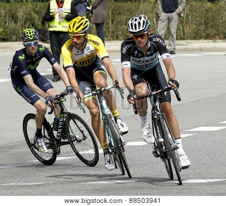 BARCELONA - MARCH, 29: Martijn Keizer(L) and Maxime Bouet(R) ride during the Tour of Catalonia cycling race through the streets of Monjuich mountain in Barcelona on March 29, 2015