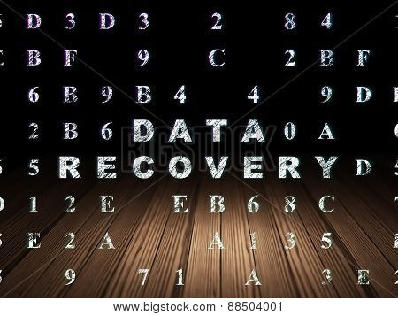 Data concept: Data Recovery in grunge dark room